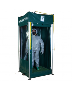 Portable decontamination shower with foldaway frame (side sheeting and sump)