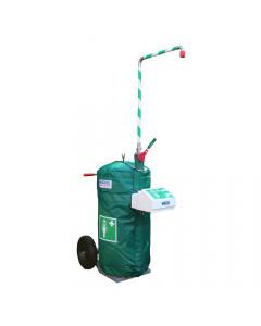 Mobile self-contained safety shower with eye wash and insulated jacket - 114 litre