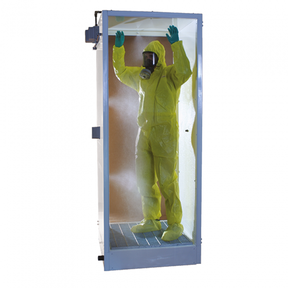 Cubicle damping shower for PPE removal
