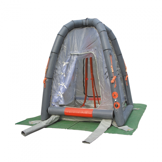 Multi nozzle decontamination shower within an inflatable shelter