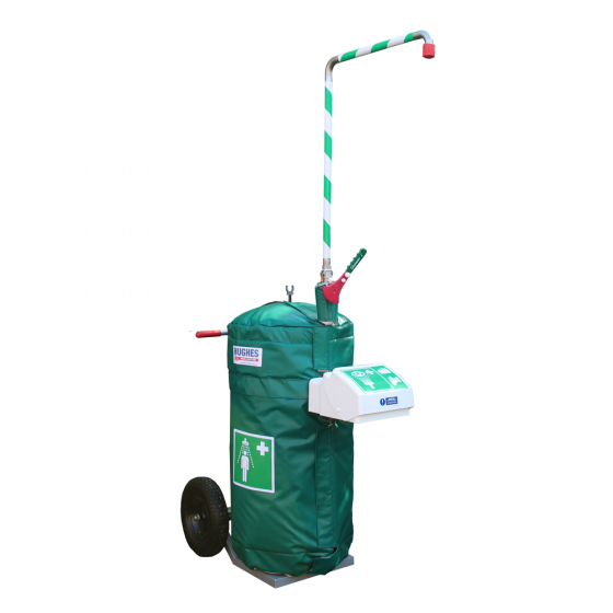 Mobile self-contained safety shower with eye wash and heated jacket - 114 litre