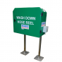 Wash down hose reel and cabinet
