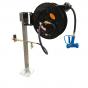 Pedestal mounted retractable hose reel