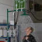 Floor mounted laboratory safety shower with eye wash