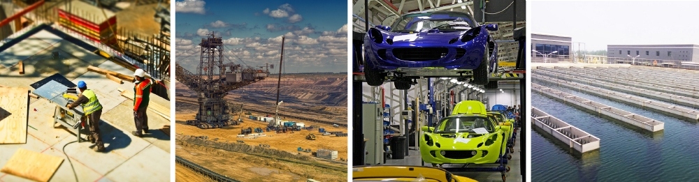 a range of industry images from construction, mining, automotive and water utilities